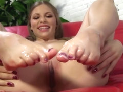 Avril Sun Jerks Big Black Dick With Her Feet