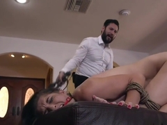 Tied Up Brunette Rough Anal Fucked