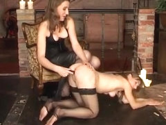 Femdom strap on sex thumbs