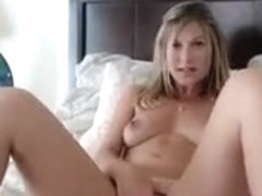 Delightful blonde with perky boobs slowly brings her snatch Part 01