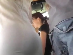 Upskirt Tight White Sheer Thong On Bus