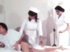 Cute nurse taking temp and giving enema