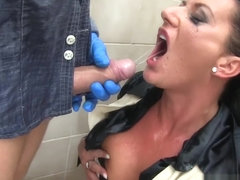 Pissdrinking busty babe riding hard dick