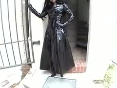 Sexy Anja in black shiny PVC pants coat boots