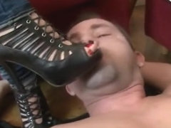 High heel shoes cleaning for two mistresses
