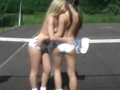 Girls making out on the tennis court