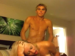 Blonde With Tan-Lines Sucking Cock And Getting Drilled