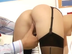 Sweet blonde babe fucked by an old man