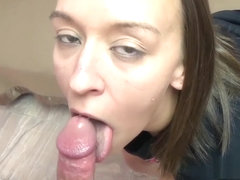 Horny hottie Nicci Taylor is on her knees for a POV blowjob