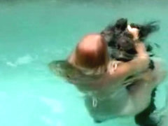 Girls fight in the pool