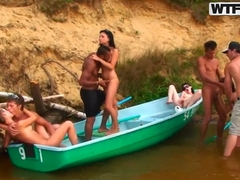 Classic foursome sex over the blue boat