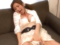 Akari Asahina pretty Asian babe masturbates in front of porn cam