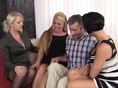 Three Sultry Cougars Seduce Guy And Gag On His Member