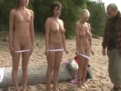 3 nude girls get special naked training