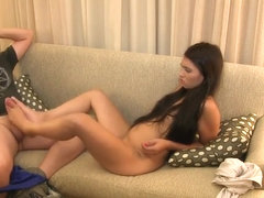 Babe Hypnotized to give Footjob