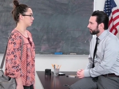 Schoolgirl disguises as her mom and fucks the teacher