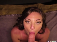 HD POV Amy Fair looks into your eyes whilst sucking