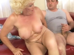 Buxom granny gets nailed hard and finishes her man off with her mouth