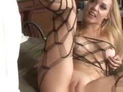 Annette Schwarz in full body fishnets gets licked and dicked by black dude