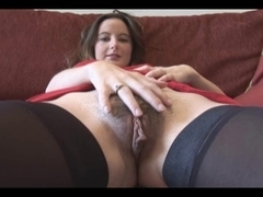 Youthful chick with curly powerful labia