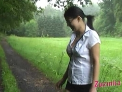 Zuzinka plays with her pussy outdoor