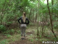 Blonde Brit fucks cock for cash outdoor
