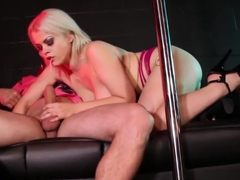 Sexy blonde stripper Nadia White gives more than a lapdance