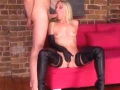 Cock Sucking Masturbation by Mistress Sidonia von Bork in Gloves and Boots
