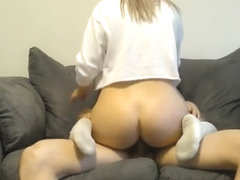 Peach gets sucked, fucked and a facial in white knee socks